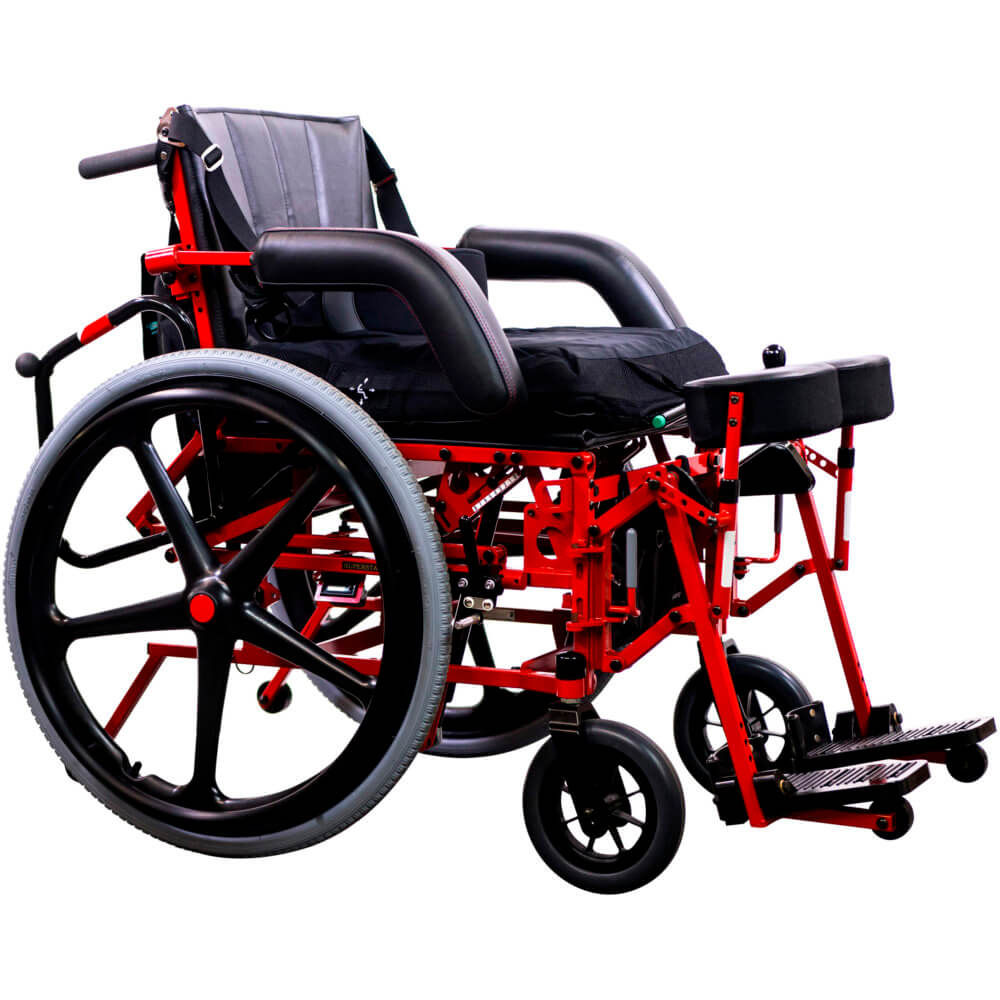 manual power standing wheelchair in seated position