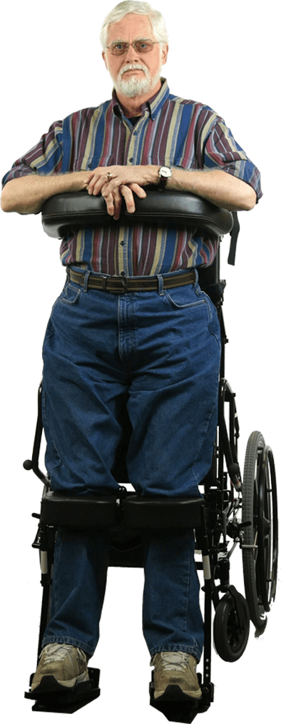 man standing in superstand wheelchair
